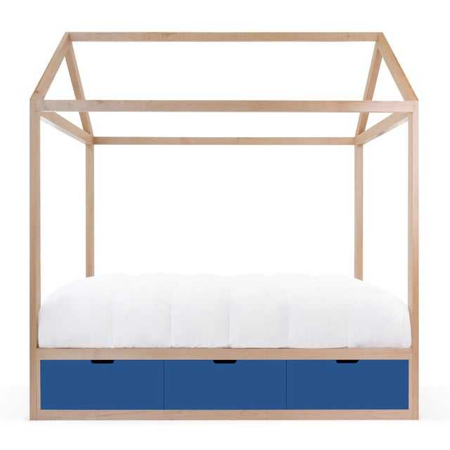 Contemporary Domo Zen Twin Canopy Bed in Maple With Pacific Blue Finish Drawers For Sale - Image 3 of 3