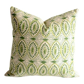 Olive Block Print Pillow Cover 16x16 For Sale