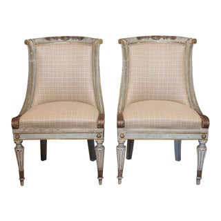 Directoire Style Slipper Chairs - Pair