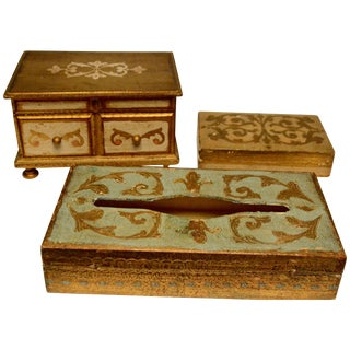 Gilt Wood Trinket Boxes and Tissue Box For Sale