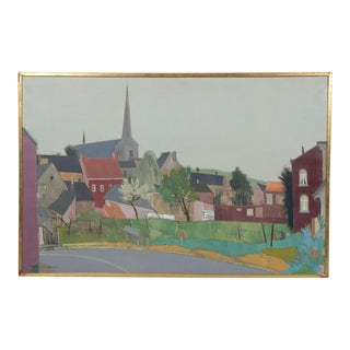 Mid-C. Belgium Cityscape Featuring a Distant Church by Raymond Coumans For Sale