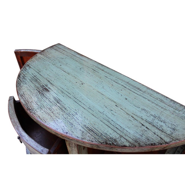 Chinese Distressed Gray Celadon Color Wood Craw Legs Half Table For Sale In San Francisco - Image 6 of 8