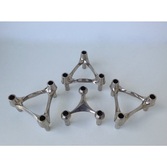 Mid-Cenutry Fritz Nagel & Ceasar Stoffi Chrome-Plated Modular Candleholders - S/4 For Sale In West Palm - Image 6 of 11