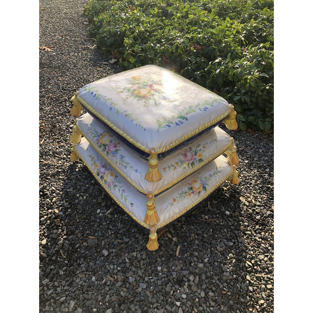 "Charming ceramic garden seat with floral design and tassels. The top ""cushion"" is removable and the bottom is open (see..."