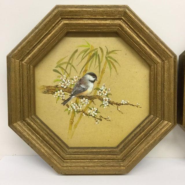 Mid-Century Modern Bird Prints Hexagon Framed - A Pair - Image 3 of 9