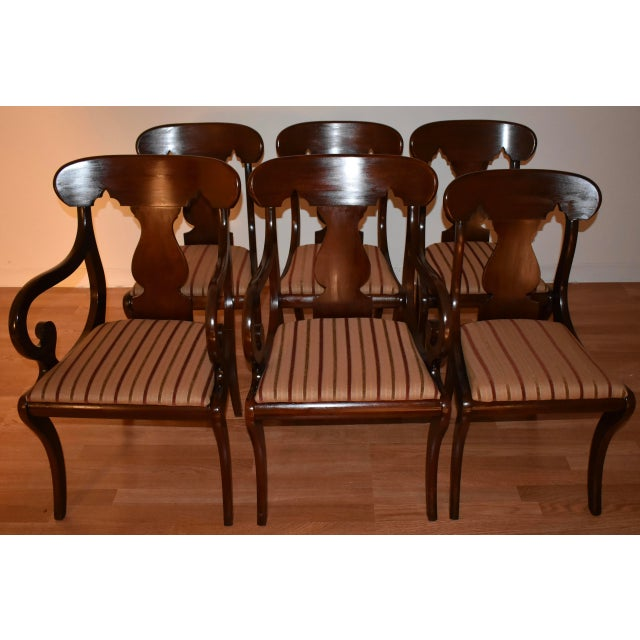 We are pleased to offer this beautiful set of six Empire dining room chairs, from the late 19th century. This set of 2...