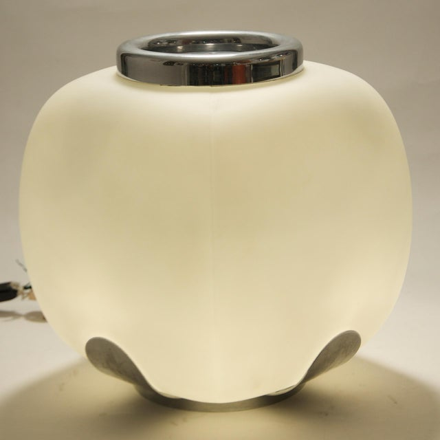 An Italian design blown glass table lamp, blown glass on stainless metal structure. 1960's shipping to USA: $295