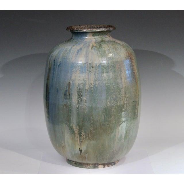 1930s Roger Guerin French Belgian Studio Art Pottery Crystalline Iridescent Glaze Vase For Sale - Image 11 of 11