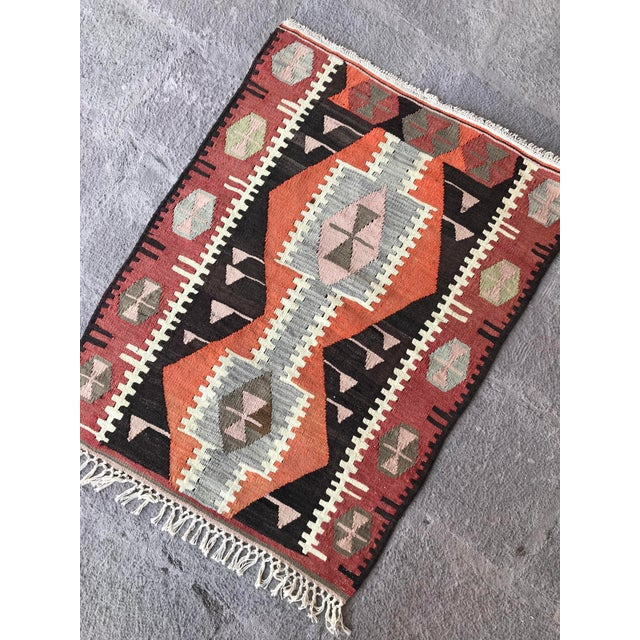 Traditional 1930s Turkish Vintage Hand-Knotted Kilim Rug For Sale - Image 3 of 10