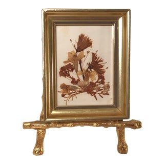 Mid-Century Miniature Framed Dried Botanical With Faux Bamboo Mini Easel For Sale