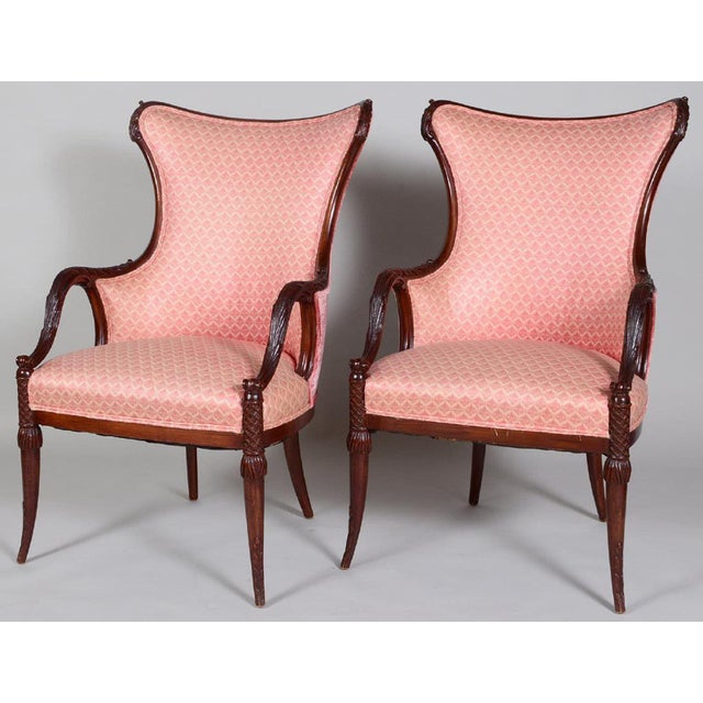 Vintage Art Deco Style Mahogany Armchairs - a Pair For Sale - Image 4 of 4