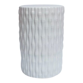 White Cylinder Porcelain Garden Stool With Bamboo Carving For Sale
