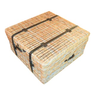 Nautical Style Wicker Rattan Trunk For Sale