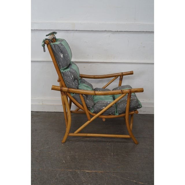 Mid-Century Rattan Frame High Back Lounge Chair - Image 3 of 10