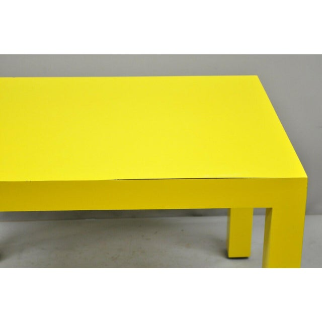 1970s Contemporary Thayer Coggin Milo Baughman Yellow Parsons End Table For Sale - Image 9 of 11