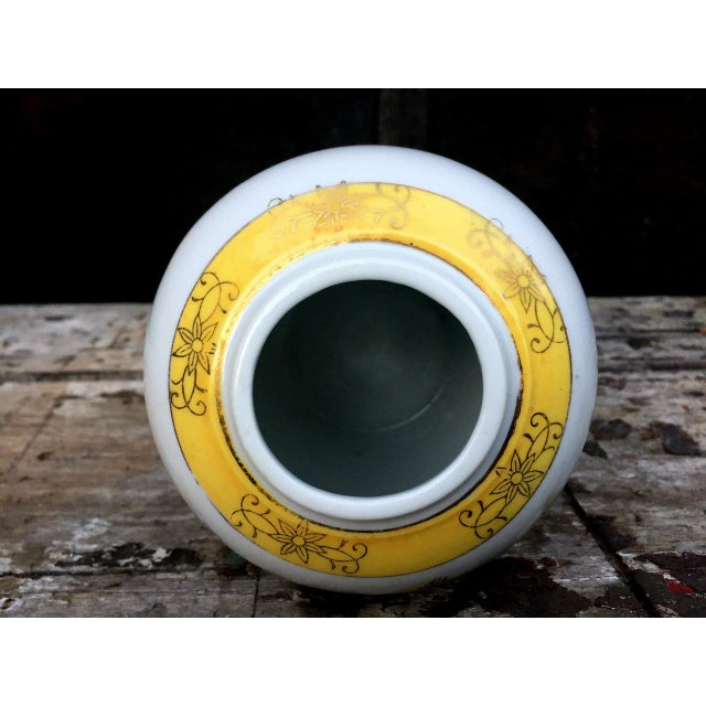 Ceramic Yellow and White Floral Vase For Sale - Image 7 of 8