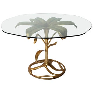 "1960s Arthur Court Patinated Gold Cast Aluminium ""Lily"" Dining or Centre Table For Sale"