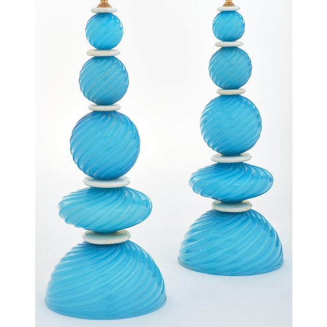 White Murano Glass Turquoise Lamps For Sale - Image 8 of 10