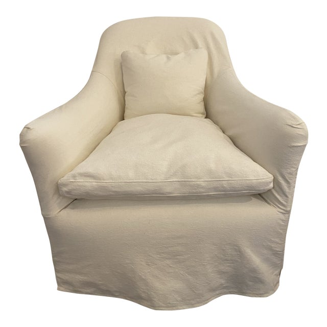Modern Cisco Brothers Linen Slipcover Hazel Mini Swivel Chair For Sale