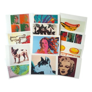 "Andy Warhol Estate Vintage 1989 "" Aw Foundation "" Pop Art Postcard Prints - Set of 12 For Sale"