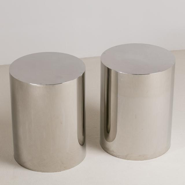 A Pair of Polished Steel Pedestals/Table Bases 1970s NB: These items are subject to a further discount over and above the...