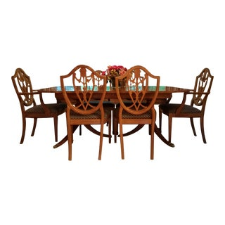 Drexel Heritage Double Pedestal Flame Mahogany Dining Set For Sale
