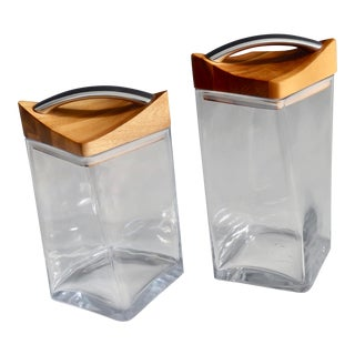 Late 20th Century Modernist Glass Canisters - a Pair For Sale