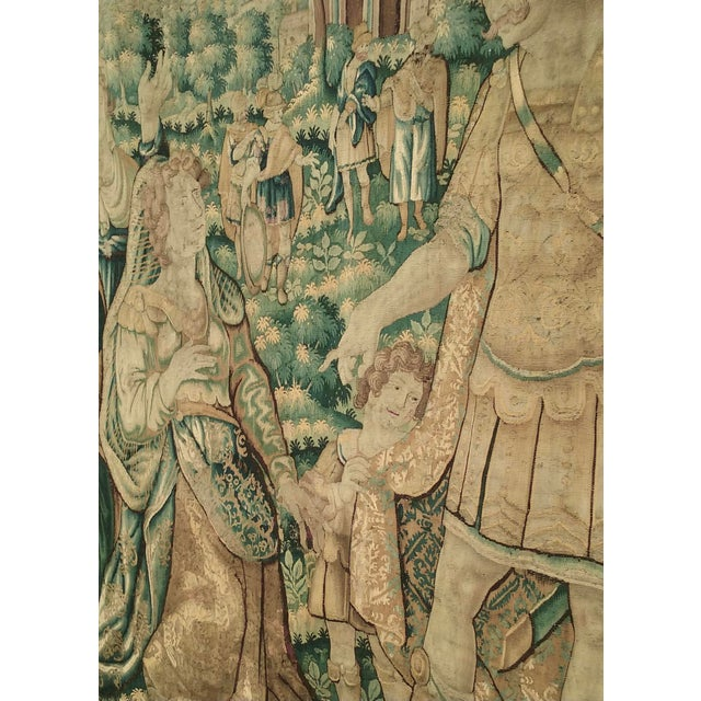 Antique Flemish Tapestry of Soldier Back From a Battle For Sale - Image 6 of 12