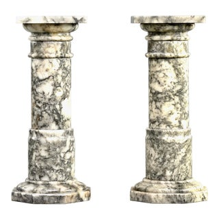 Italian Carved Marble Columns or Pedestal Stands - a Pair For Sale