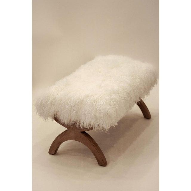Modern Curly Jj Bench White Tibetan/Mongolian Lamb For Sale - Image 3 of 3