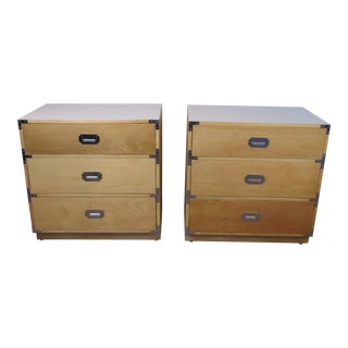 1960s Blonde Campaign Style Bachelors Chests by Dixie Furniture Co., - a Pair For Sale