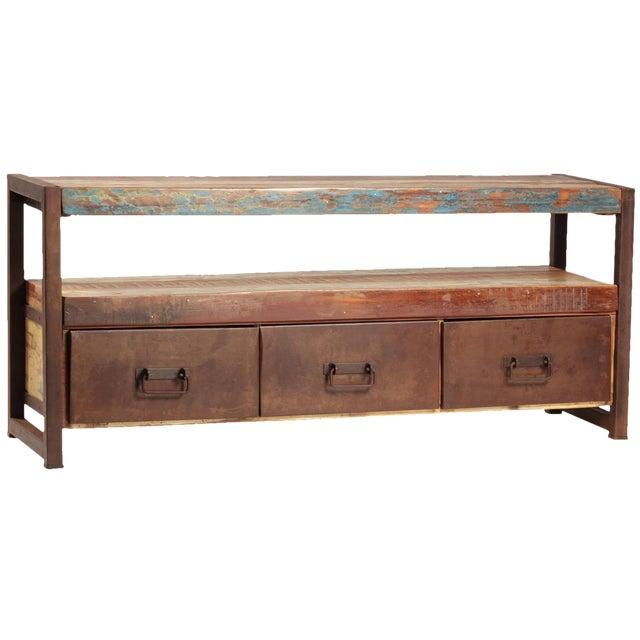 Reclaimed Wood & Iron Plasma Tv Stand - Image 1 of 2