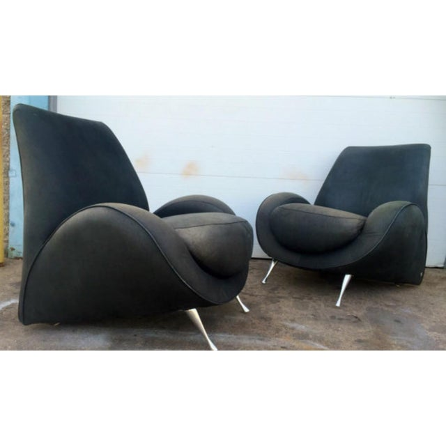 American Leather Distressed Modern Lounge Chairs - A Pair - Image 2 of 6