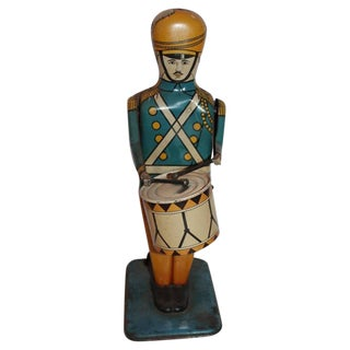 Pair of Original Painted Wind Up Tin Toy Drum Majors For Sale