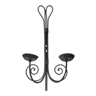 Mid 20th Century Modern Black Metal Two Arm Swirl Sconce For Sale