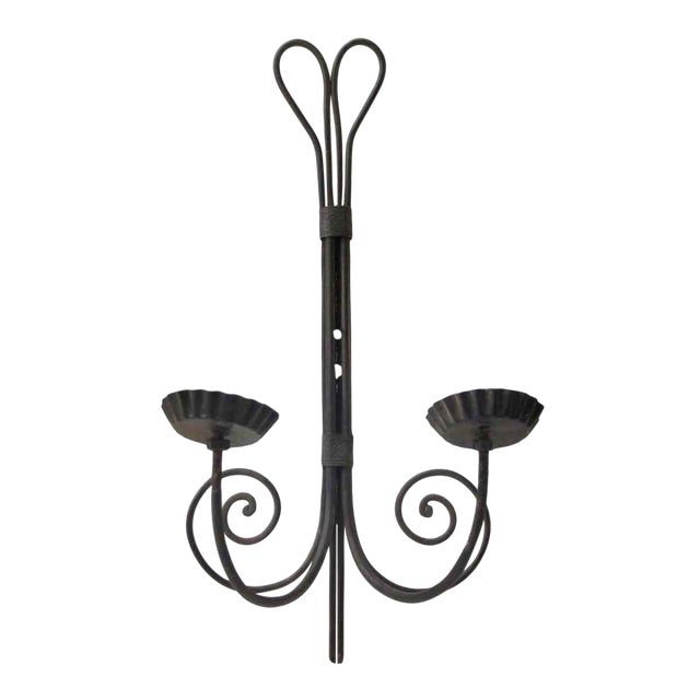 Modern Black Metal Two Arm Swirl Sconce For Sale