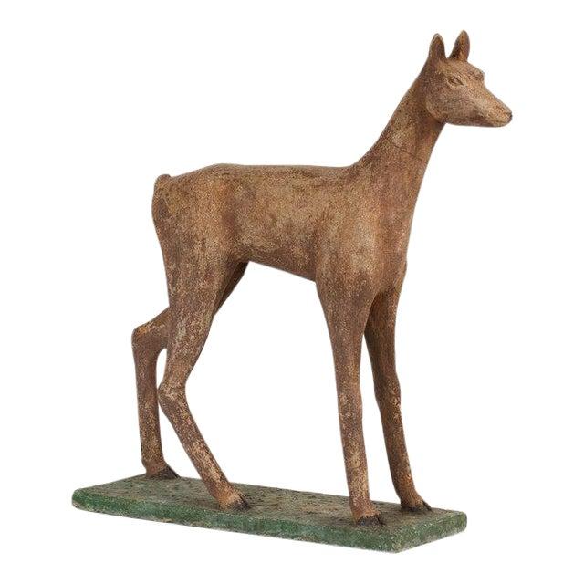 1940s Vintage Concrete Garden Deer Statue For Sale