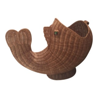 "Wicker ""Fish"" Magazine Holder"