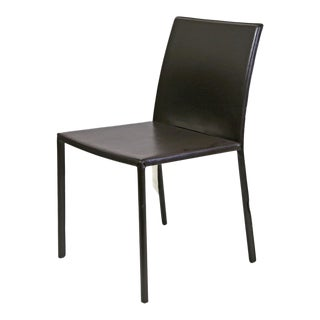 Contemporary Brown Leather Wrapped Dining Chair