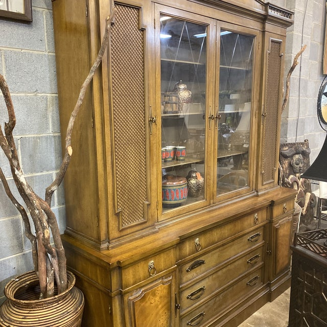 1970s Thomasville Neoclassical Wood China Display Cabinet For Sale - Image 5 of 13