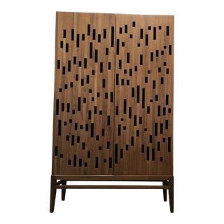 Solid Walnut Cabinet With Cut Out Show Pattern Door Faces For Sale