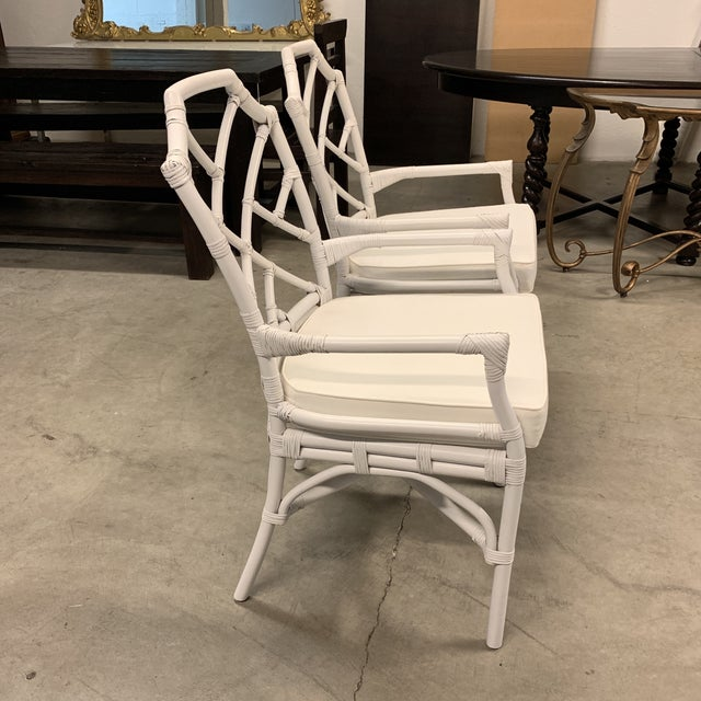 New New Pacific Direct Kara Rattan White Arm Chairs For Sale - Image 4 of 12