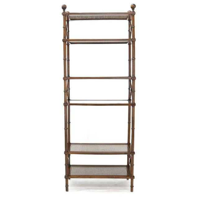Chocolate X Stretchers Faux Bamboo Cane and Glass Shelves Étagère Shelves For Sale - Image 8 of 13