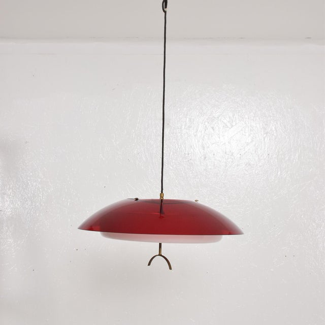 1960s Mid-Century Italian Modern Pendant Light Fixture by Stilux, Italy Chandelier For Sale - Image 5 of 7