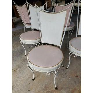 1950's Vintage Hollywood Regency Mid-Century Wrought Iron Atomic Ice Cream Parlor Chairs - Set of 6 Preview