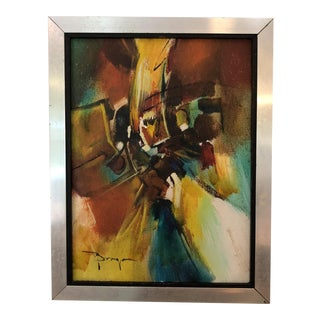 Mid Century Signed Abstract Framed Painting