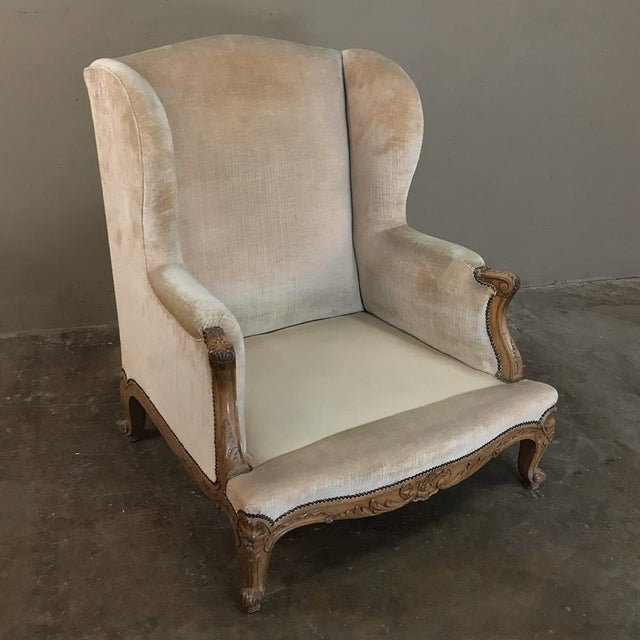 Brown Antique French Walnut Louis XV Wingback Armchair For Sale - Image 8 of 13