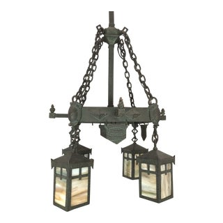 1910 Arts and Crafts Wrought Iron Ceiling Fixture For Sale