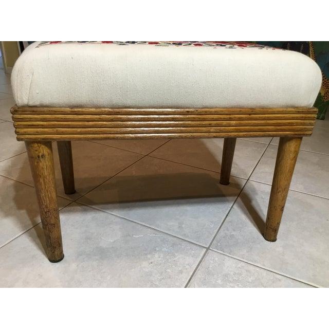 Blue Vintage Upholstered American Sitting Stool For Sale - Image 8 of 13