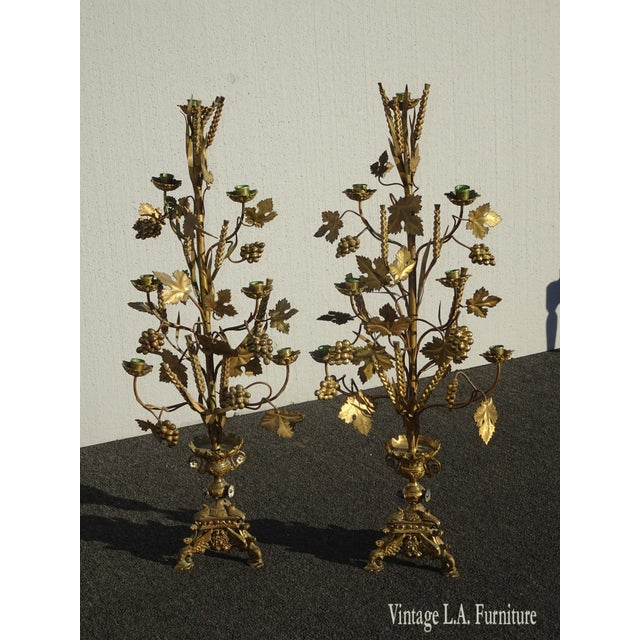 """Pair Tall 36""""h Vintage Gold Table Top Floral Candelabras Brass Candle Holders Light For Sale - Image 13 of 13"""
